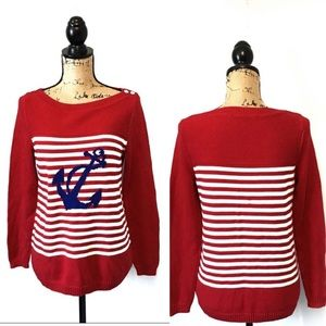 Talbots Red Striped Anchor Sweater Nautical Preppy